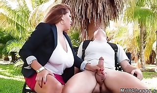 Natural huge tits Milf fucks in the bench