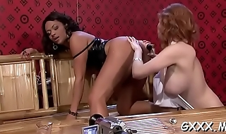 Foxy lesbian playgirl gets large shaved pussy fucked with toys