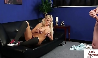 Busty domina strips for naked submissive