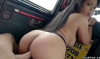 Curved ill-lighted fucks in fake taxi
