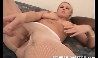 Watch me rip open my fishnets and rub my pussy