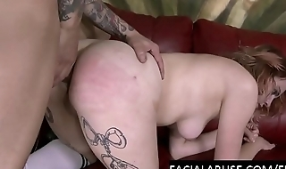 Face fucked slattern has a painful anal tryout