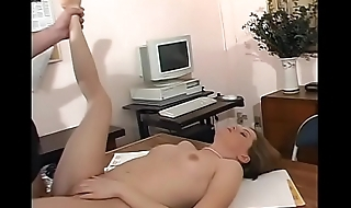 Horny older stud licks blondie'_s foot while he pounds her on his desk