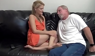 Skinny blonde fucks and give footjob