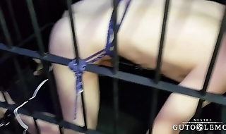 Sub Yuri is  Caged and Electro Cock Buttplugged
