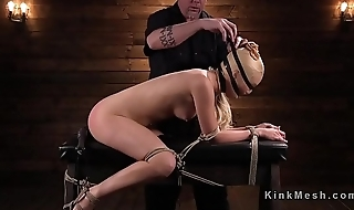 Hogtied blonde slave anal fingered
