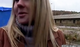 Blonde titillating amateur street girl suck cock for cash and flash the brush tits