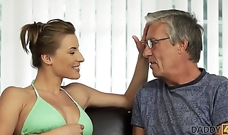 DADDY4K. Passionate sex near the pool with the boyfriend'_s dad