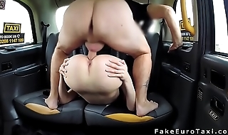 Blonde in stockings fucks balls deep in fake hansom cab