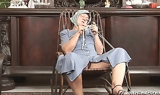 Ancient granny is still a cock thirsty woman