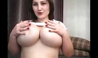 Lovely chubby woman showed huge knockers for free and fun