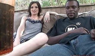 Slim girl sucks monster black cock