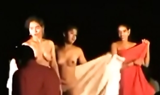 Indian Women Winking Completely Naked Live in front of Village Crowd
