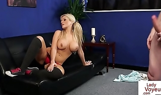 Busty instructing babe helps naked sub