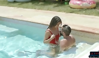 Spanish lifeguard beauty saves a guy from rub-down the pool