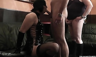 Femdom spliced uses crossdresser and let some guys gangbang him