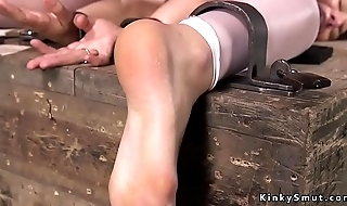 Slave in stockings gets ass spanked